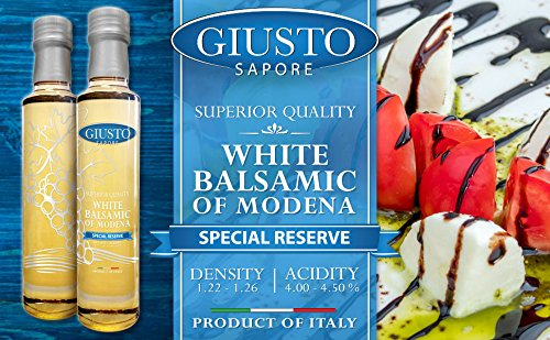 Giusto Sapore White Italian Balsamic Vinegar 1.09/6% - Premium Gluten Free Gourmet - Imported from Italy and Family Owned 3 FAMILY MADE: Premium gourmet white balsamic vinegar brand that is imported and made in Italy. ORIGIN: White balsamic vinegars of Modena are made following a traditional recipe FLAVOR: The white balsamic vinegar is aged in wooden barrels for superior flavor.