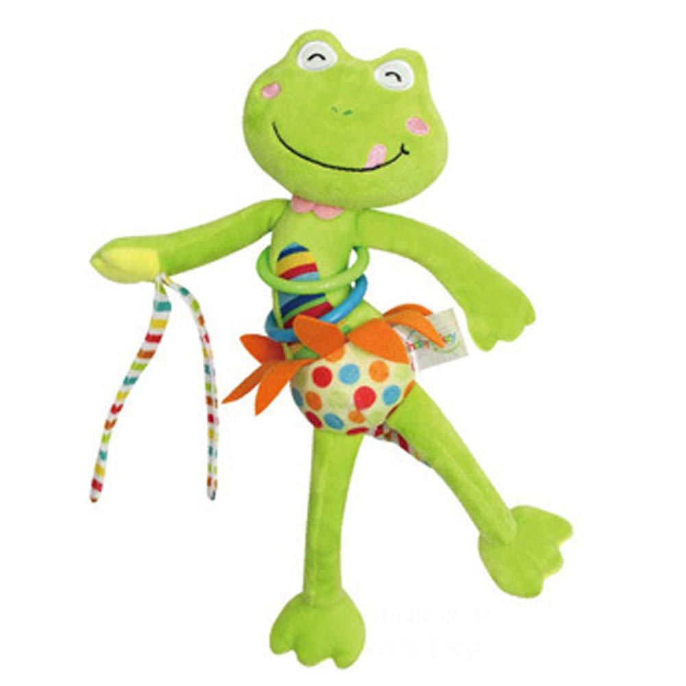 DDG EDMMS bébé grenouille hochet berceau jouet en peluche suspendu, poussette siège auto pour bébé jouet lit, jouet de développement de l'activité du nouveau-né, bébé unique Voyage suspe