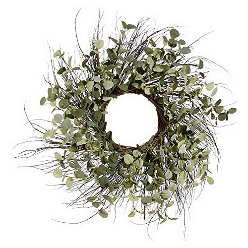 Wreath Spiral Twig - 25 Inch Artificial Eucalyptus Wreath on a Natural Twig Base