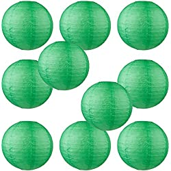 "WYZworks Round Paper Lanterns 10 Pack (Dark Green, 10"") - with 8"", 10"", 12"", 14"", 16"" option"