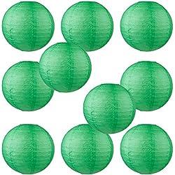 """WYZworks Round Paper Lanterns 10 Pack (Dark Green, 10"""") - with 8"""", 10"""", 12"""", 14"""", 16"""" option"""