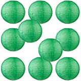 WYZworks Round Paper Lanterns 10 Pack (Dark Green, 10'') - with 8'', 10'', 12'', 14'', 16'' option