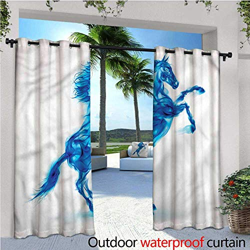 - warmfamily Horses Outdoor Blackout Curtains Fire House Blazing Outdoor Privacy Porch Curtains W72 x L96
