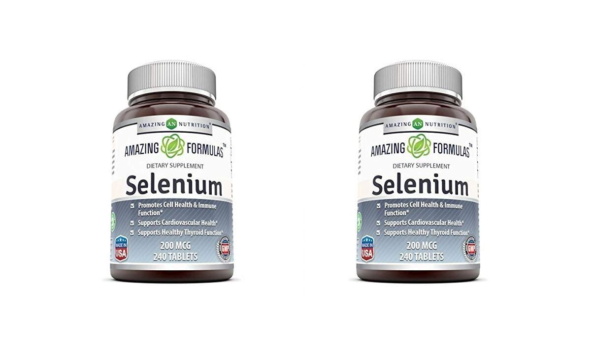 Amazing Nutrition Selenium * 200mcg Natural Selenium Yeast * 240 Tablets Per Bottle * Promotes Cell Health, Immune Function, Cardiovascular Health and Healthy Thyroid Function and more.. (Pack of 2)