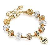 "Bracelets Gold Plated Snake Chain Bracelets Pendant""I Love You"" Glass Crystal Beads Charms Bracelets for Women with Fine Gift Box"