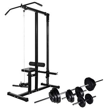 vidaXL Máquina Musculación Barra Mancuerna 30,5kg Pesa Ejercicio Entrenamiento: Amazon.es: Deportes y aire libre