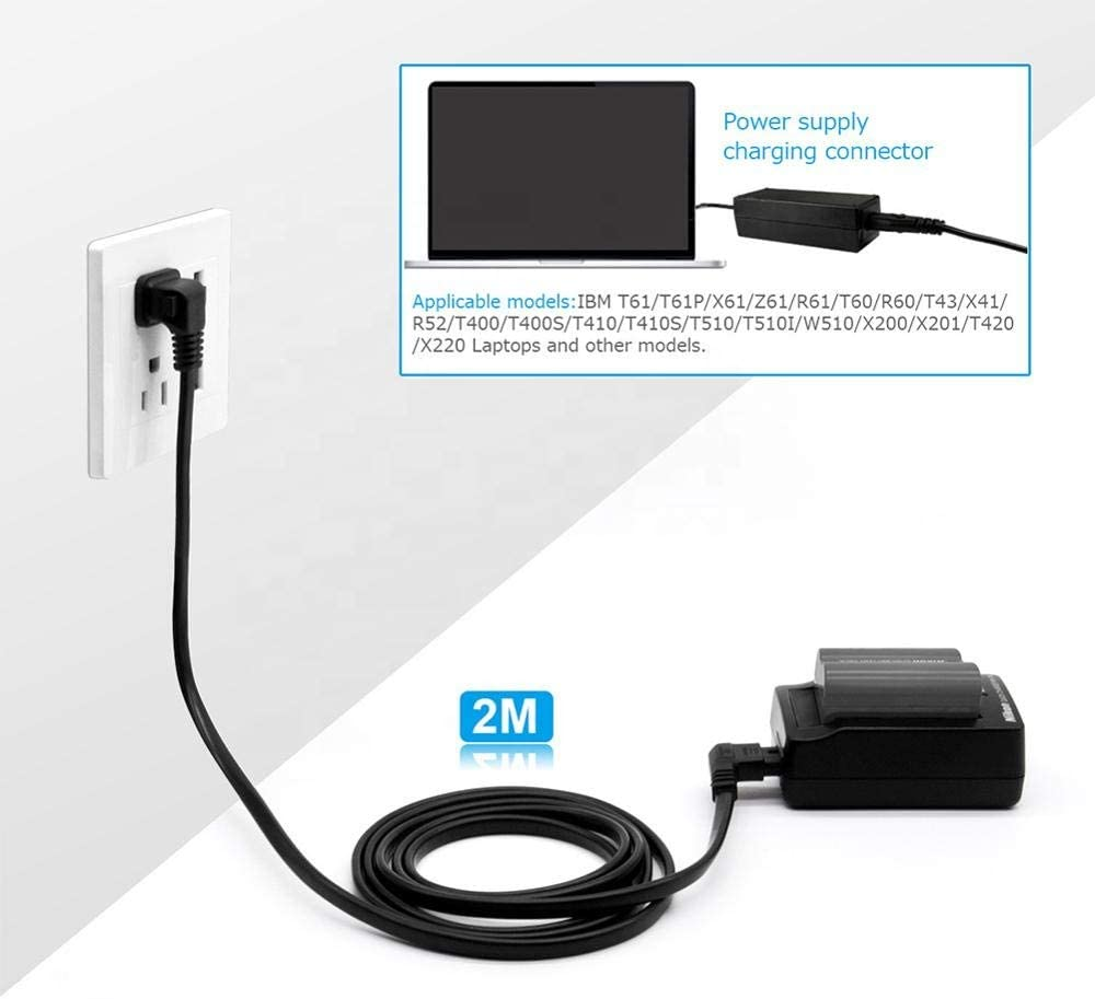 AMSK Power L-Type 2-Prong 6 Ft 6 Feet Ac Cord Wall for Anker POWERPORT 6 LITE USB Charging Station