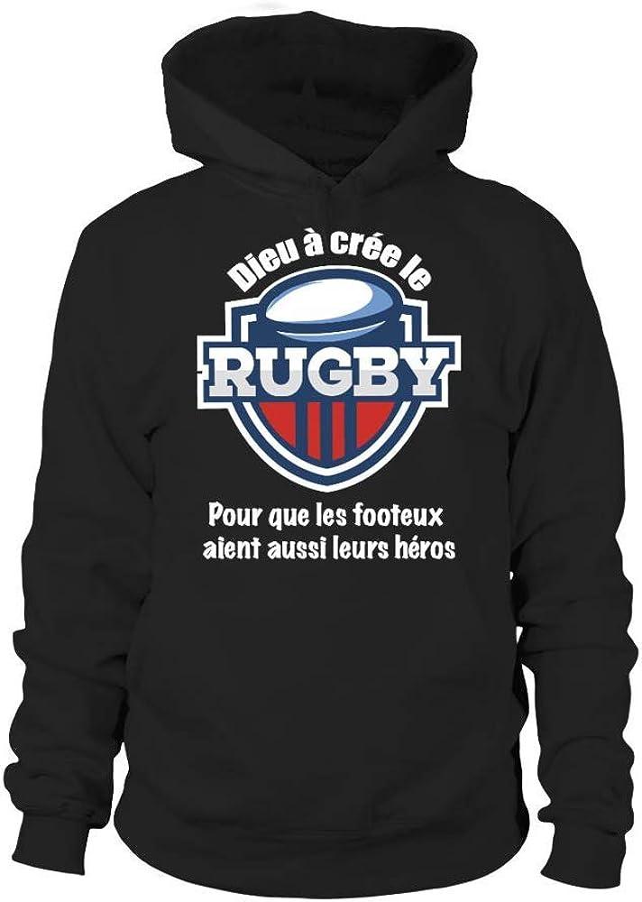TEEZILY T-Shirt Homme Dieu a cr/é/é Le Rugby pour Que Les footeux aient Aussi Leurs h/éros