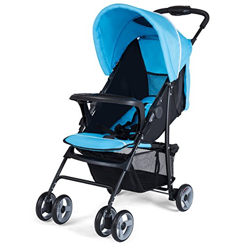 Costzon Lightweight Baby Stroller, Foldable Stroller with 5-Point Safety System and Multi Position Reclining Seat (Navy) For Sale