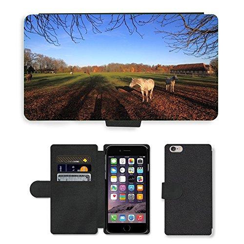 "Just Phone Cases PU Leather Flip Custodia Protettiva Case Cover per // M00128929 Automne Ombre Chevaux Paddock // Apple iPhone 6 PLUS 5.5"""