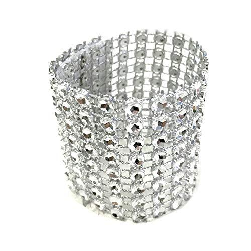 Rings Silver Ebay (Napkin Rings - 10pcs Gold Silver 8 Rows Diamond Mesh Trim Rhinestone Bow Covers Holders Wedding Napkin Rings Diy Decorations Table Decor Craft)