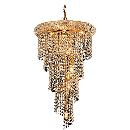 Elegant Lighting 1801SR16G/SA Spiral Collection 8-Light Hanging Fixture No Neck Swarovski Spectra Crystals with Gold Finish ()