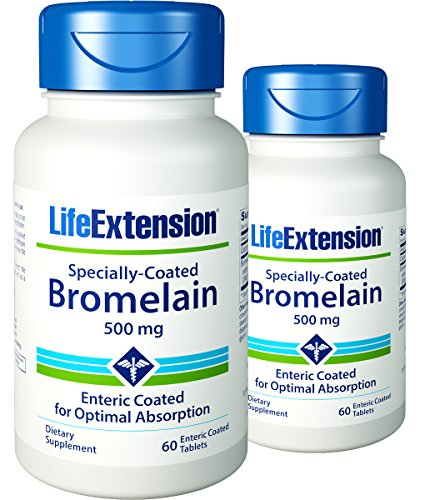 Bromelain 60 Tablets - Life Extension - Specially-Coated Bromelain - 500 Mg - 60 Gels (Pack of 2)