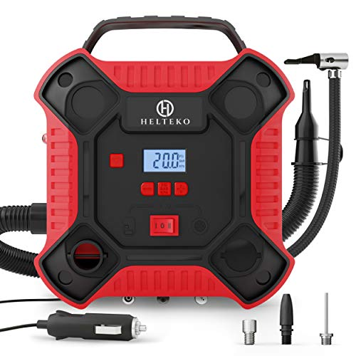 Helteko Air Compressor Tire Inflator - DC 12V Tire Pump for Car Tires with Dual Motors and LED Light - Digital Auto Air Pump with Carrying Case - Portable Air Compressor for Car, Bicycle, Inflatables