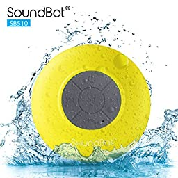 SoundBot SB510 HD Water Resistant Bluetooth 3.0 Shower Speaker, Handsfree Portable Speakerphone with Built-in Mic, 6hrs of playtime, Control Buttons and Dedicated Suction Cup for Showers, Bathroom, Pool, Boat, Car, Beach, & Outdoor Use (White)
