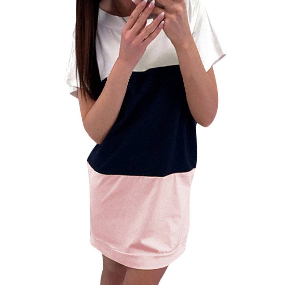 HTDBKDBK Women Casual Splice Short Sleeve Shirt Dress Ladies Loose Party Tops Mini Dress Beach Dress Pink