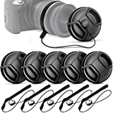 (10 Pcs Bundle) 5 Center Pinch Lens Cap (52mm) and 5 Cap Keeper Leash for Canon - Nikon - Sony and any Other DSLR Camera