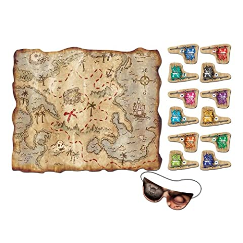 Pirate Treasure Map Party Game (mask & 12 flags included) Party Accessory (1 count) (Pirata Mappa)