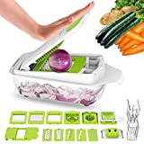 LOVKITCHEN Vegetable Chopper Dicer Slicer Cutter Manual/Vegetable Grater, Multifunctional Adjustable Vegetable & Fruit Chopper Dicer with Storage Container and 11 Interchangeable Blades