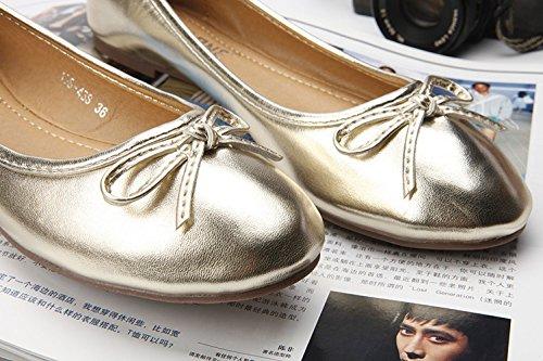 Plaid&Plain Womens Bow Tie Round Toe Slip On Low Cut Enamel Leather Ballet Pumps Flats Shoes Gold e9xq6