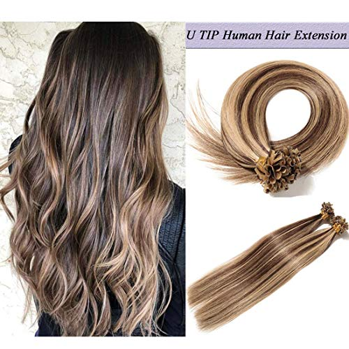 "U Tip Human Hair Extensions Pre Bonded Nail Tipped Real Human Hair Piece Italian Keratin Ombre U Tip Fusion Extensions Silky Straight 100 Strands 18""-50g (#4P27 Medium Brown&Dark Blonde)"