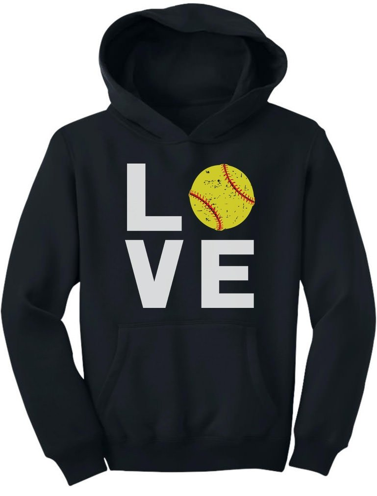 TeeStars - Love Softball - Gift for Softball Fans Youth Hoodie X-Large Black