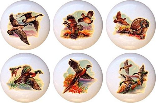 Set of 6 Fowl Vintage-look Decorative Glossy Ceramic Drawer Knobs (Pheasant Knob compare prices)