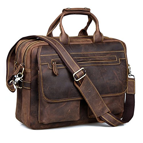 Brown Coffee Leather Briefcase Shoulder Business Laptop Bags Tote