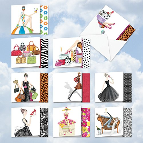 MQ5067OCB-B1x10 Write in Style: 10 Assorted 'Square-Top' Blank, All Occasions Note Cards Featuring Designer Bags and Stylish Women; With Envelopes.