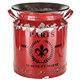 Rustic Red Paris Milk Can Distressed French Style Country Rustic Primitive Jug Vase Milk Can for Home Decoration