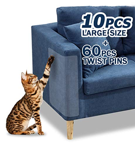 Pet Couch Protector, 10PACK Clear Pet Cat Dog Claw Guards Self-Adhesive Pads, Discreet Cat Scratch Furniture Protector Pad Deterrent,Cover to Protect The Upholstery, Door, Walls,Mattress,Car Seat