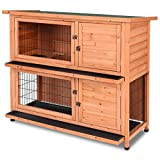 Tangkula Chicken Coop 48' Rabbit Hutch Wooden Garden Backyard Bunny Hen House Pet Supplies with Ladder
