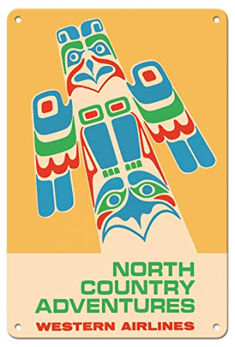 (Pacifica Island Art 8in x 12in Vintage Tin Sign - North Country Adventures - Pacific Northwest Totem Pole - Western Airlines)