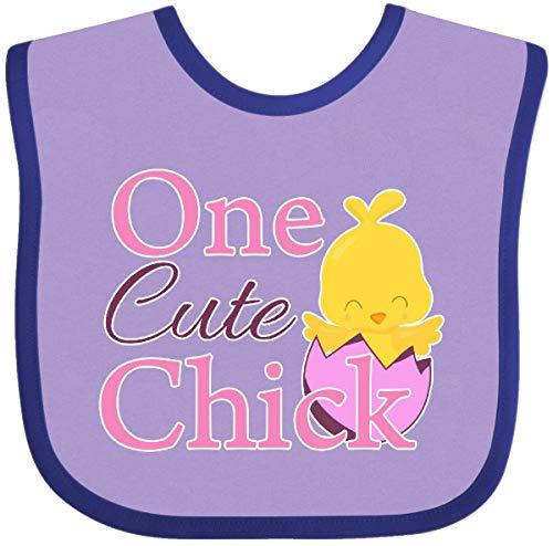 (Inktastic - One cute chick Baby Bib Lavender and Purple 27fff)