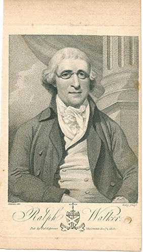 Ralph Walker wearing glasses antique 19th century portrait print
