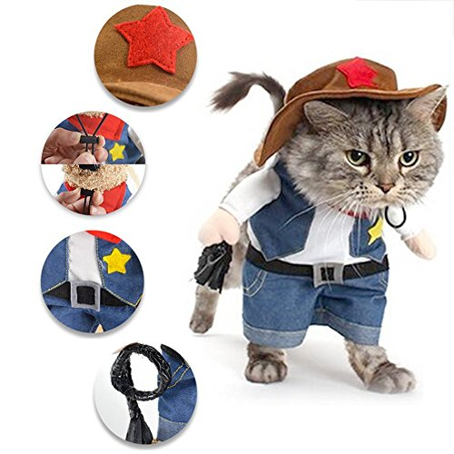 Hat Pet Costume - PetIsay Funny Pet Dog Cat West Cowboy Costume with Hat, Fit for Weekend Parties Cosplay Birthday Halloween Christmas Special Events (L)