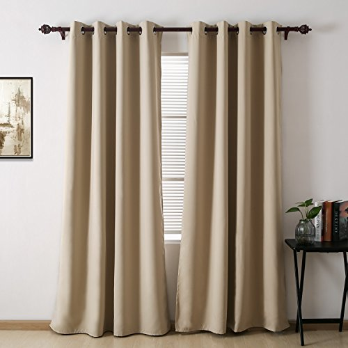 Deconovo Solid Thermal Insulated Grommet Blackout Curtain For Living Room 52