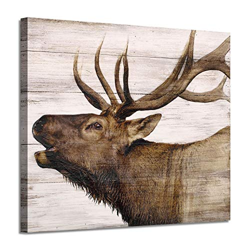 Elk Pictures Canvas Wall Art: Wildlife Animals Artwork Print on Wrapped Canvas Paintings for Bedroom (24'' x 18'')