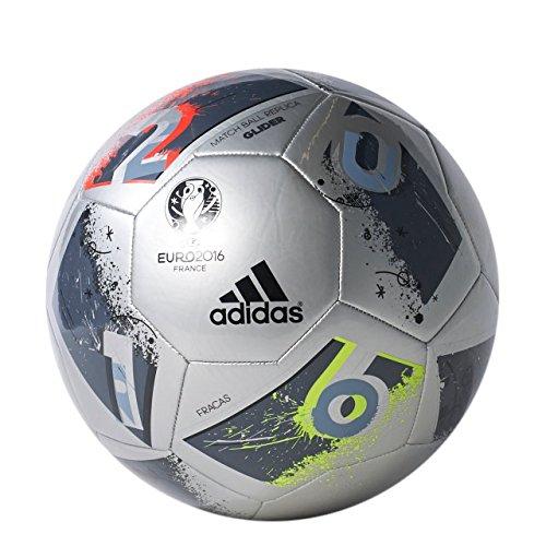 adidas Performance Euro 16 Glider Soccer Ball, Silver Metallic Grey/Night Metallic/Matte Silver/Dark Grey, Size 3