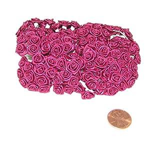 144 Silk Mini Wrap Roses Wedding Shower Flower Picks - Hot Pink 9