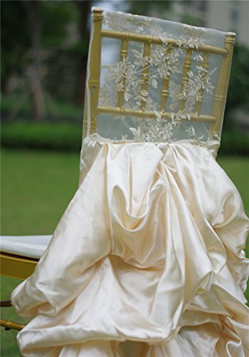 Chiavari Chair Covers (10pcs embroidery lace ruffled satin wedding chiavari chair covers for wedding decoration)