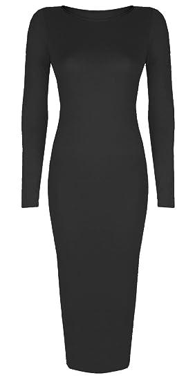 Baleza Womens Inspi Long Sleeve Bodycon Midi Calf Length Dress At