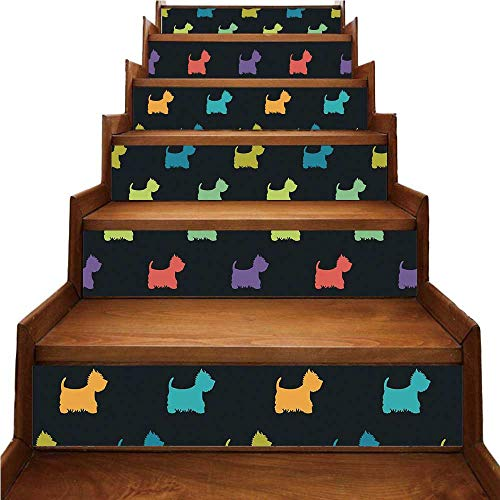 - Dog Lover Nice Stairs Sticker,Colorful Dog Silhouettes West Highland Terriers Canine Cartoon Style Animal Fun for Home,39.3