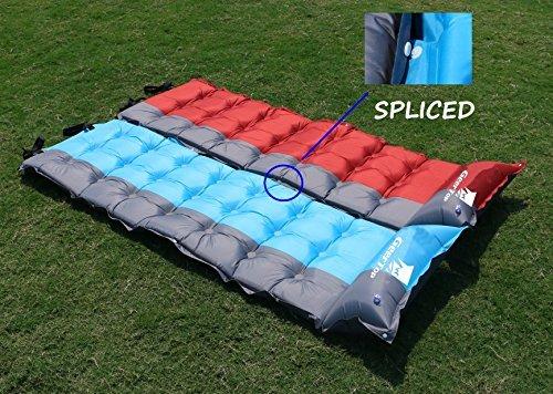 GEERTOP5cm1人用スプライス軽量自動膨張式エアーマットテント寝袋マットキャンピングマットエアマットキャンプマット(レッド)