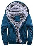 Hanxue Men's Winter Warm Full Zip Eco Sherpa Fleece Hoodie Jackets (XS, Blue)