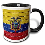 3dRose (mug_155221_4) National flag of Ecuador painted onto a brick wall Ecuadorian - Two Tone Black Mug, 11oz