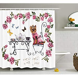 "Ambesonne Yorkie Shower Curtain, Yorkshire Terrier in Pink Dress Having a Tea Party Tea Time Butterflies Roses, Cloth Fabric Bathroom Decor Set with Hooks, 75"" Long, Pale Pink 28"