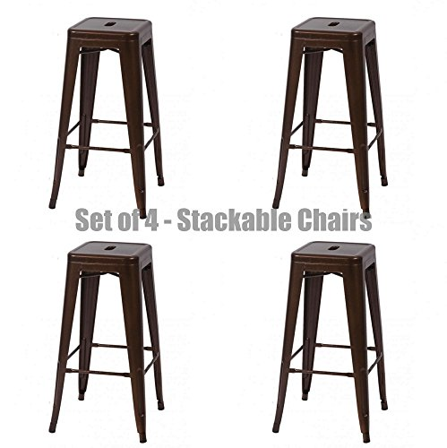 Classic Style Office Dining Room Chair Stackable Backless Solid Metal Seat Indoor Outdoor Set Of 4 Bar Stools - Bronze - Code Ivory Discount And Co