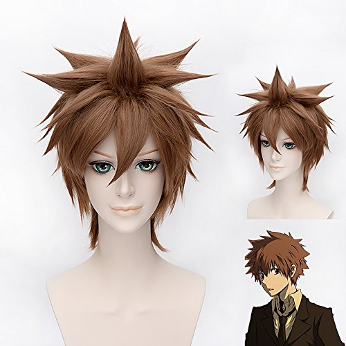 "Price comparison product image GOOACTION 12"" Short Brown Msn Synthetic Hair Wigs HITMAN REBORN! Anime Awada Tsunayoshi Cosplay Costume Wig"
