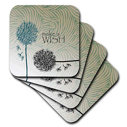 3dRose CST_63555_3 Inspired Teal Make a Wish Dandelion Flowers Ceramic Tile Coasters, Set of 4